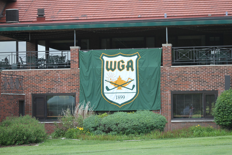 The WGA banner hangs from the patio at the clubhouse at Flossmoor Country Club.