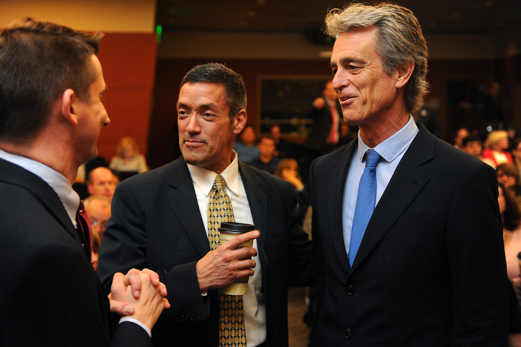 . Candidates John Duran, center, and Bobby Shriver talk with people before the 3rd District Board of Supervisors debate, Thursday, March 20, 2014, at UCLA�s California NanoSystems Institute Auditorium. (Photo by Michael Owen Baker/L.A. Daily News)