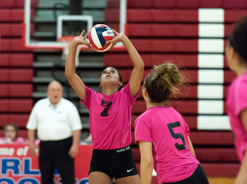 10/11/18  Wesley Bunnell | Staff  Newington volleyball defeated Berlin at Berlin High School 3-0 on Thursday night. Newington's Azya Bass (7).