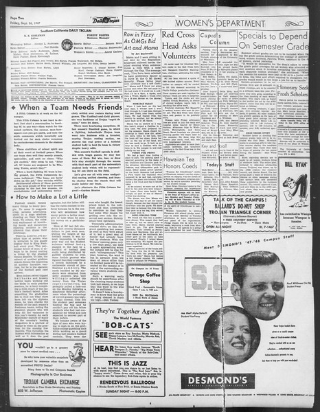Daily Trojan, Vol. 39, No. 10, September 26, 1947