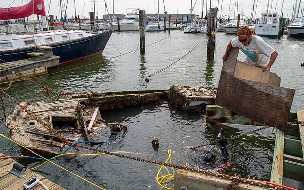 Raising of sunken boat