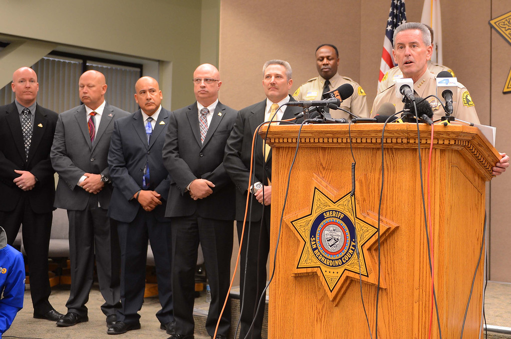 . San Bernardino County Sheriff John McMahon  speaks at a news conference at the San Bernardino County Sheriff\'s Department on  Friday, Nov. 15, 2013, where the identities of two of the sets of remains found near Victorville earlier in the week were revealed. (LaFonzo Carter/The Sun)