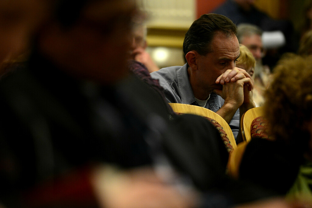 . DENVER, CO - MARCH 4: People in the audience listen as the Senate Judiciary Committee listens to gun debates at the State Capitol. Four gun bills were up for debate. (Photo by AAron Ontiveroz/The Denver Post)