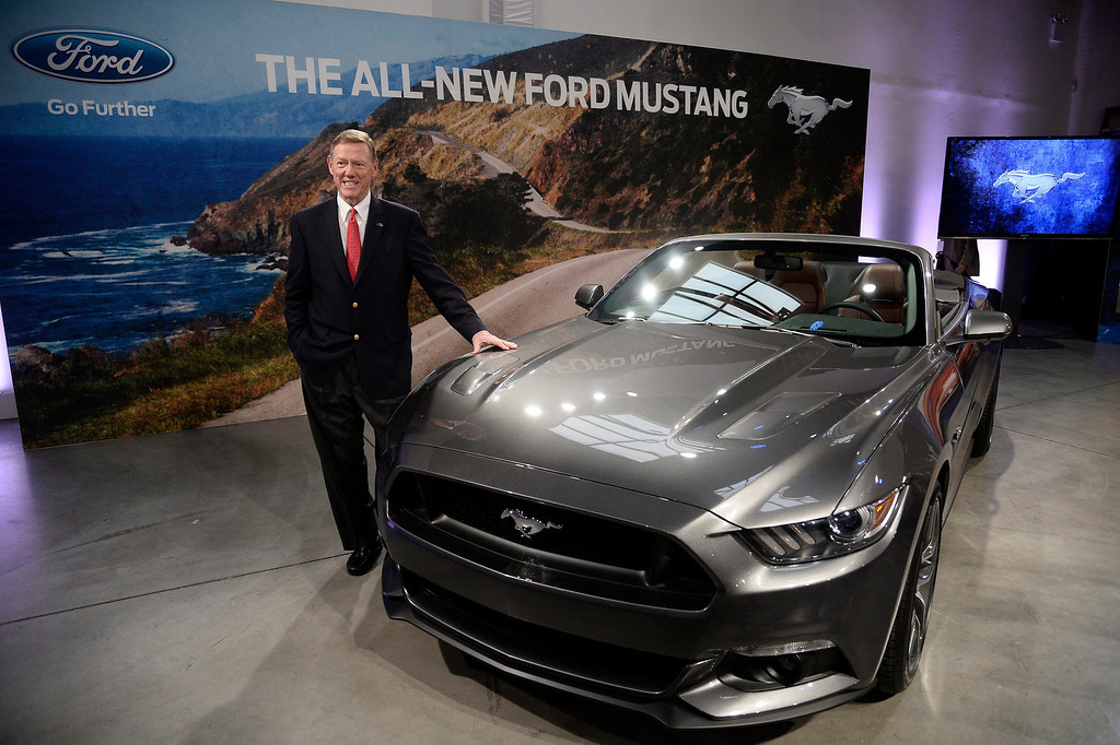 . Ford CEO Alan Mulally unveils the 2015 Ford Mustang at a press event in New York, New York, USA, 05 December 2013.  EPA/ANDREW GOMBERT