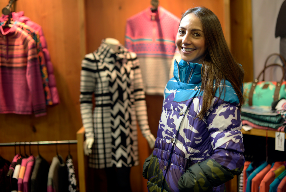 . A model in a jacket from Neve Designs during a visit to the Snowsports Industries America  Snow Show at the Colorado Convention Center in Denver on Thursday, January 30, 2014. (Denver Post Photo by Cyrus McCrimmon)
