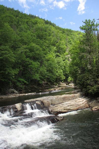 The trail dropped me off atop a large, bare rock outcrop above a point where the Linville River drops over a large ledge at a sharp elbow bend...