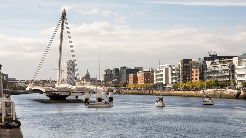 Samuel Beckett Bridge open for boats
