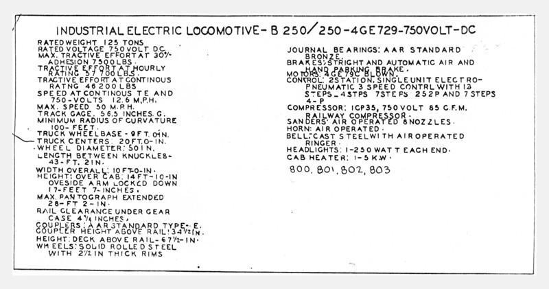 Kennecott 800 Class Electrics, Data