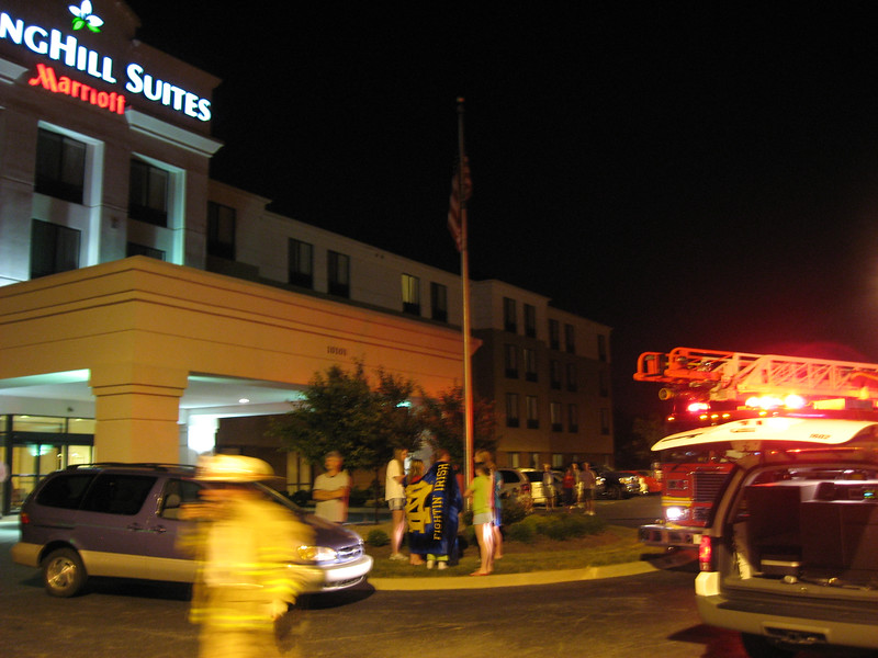 What better way to cap off a day of Reunion activities than a 1:30 am fire alarm? Oh, and those studies that show that children tend to sleep soundly through loud fire alarms? True!