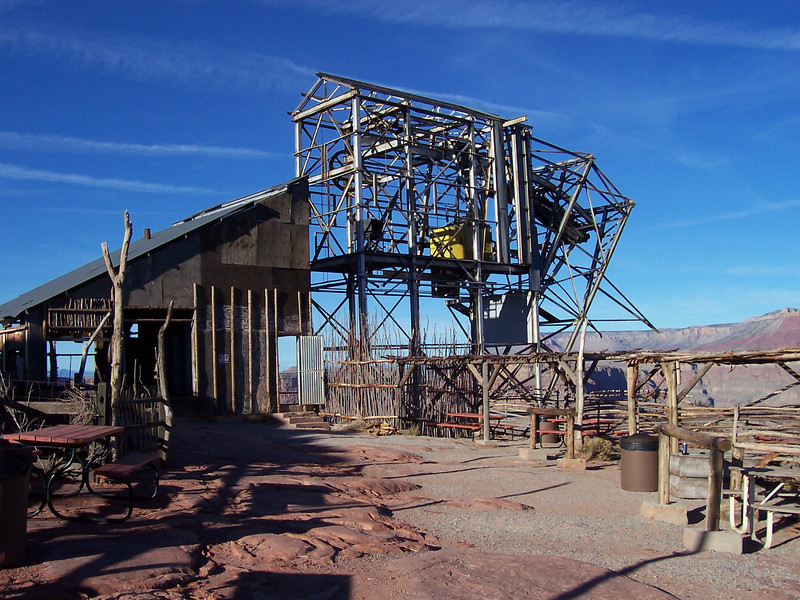 Crane apparatus at Guano Point. Used to lower people to the bottom of the canyon where the bat caves are located.