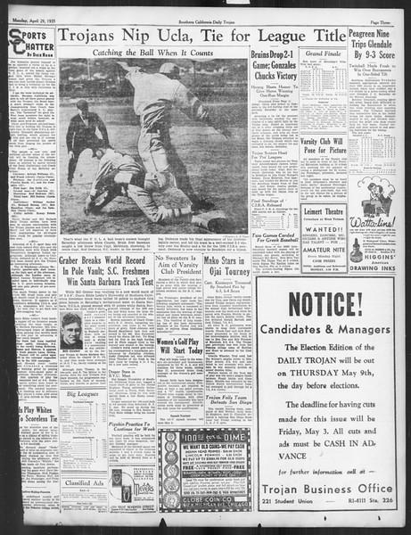 Daily Trojan, Vol. 26, No. 126, April 29, 1935