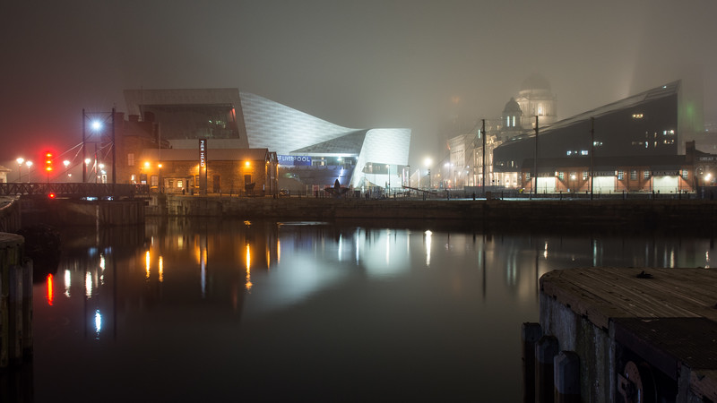 Liverpool docks in the fog