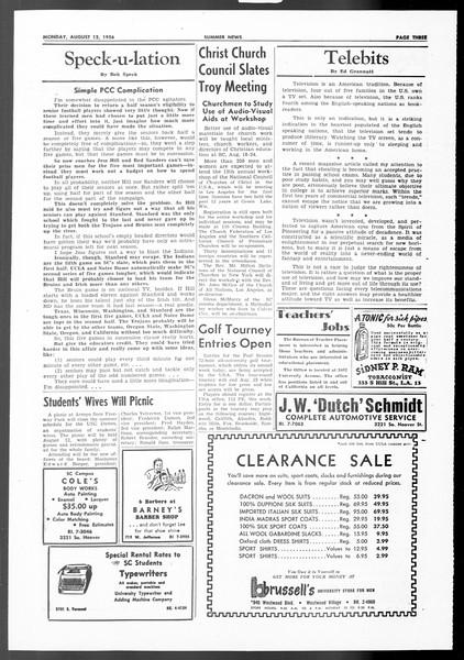 Summer News, Vol. 11, No. 14, August 13, 1956
