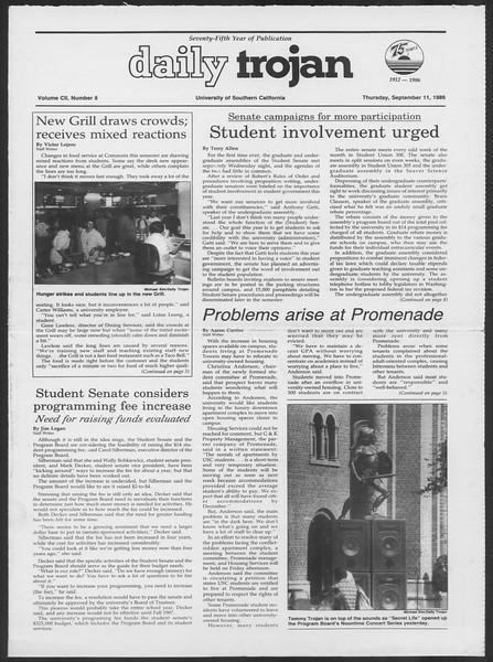 Daily Trojan, Vol. 102, No. 8, September 11, 1986