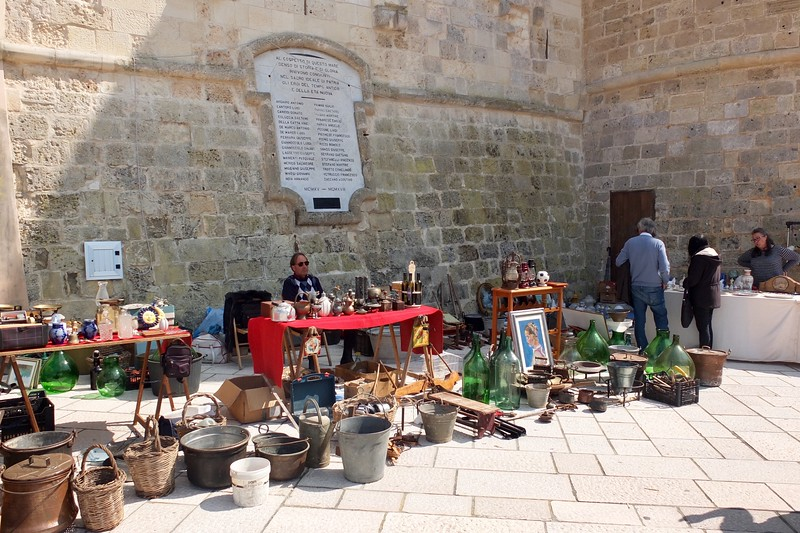 arts and crafts tables set up outside castle walls