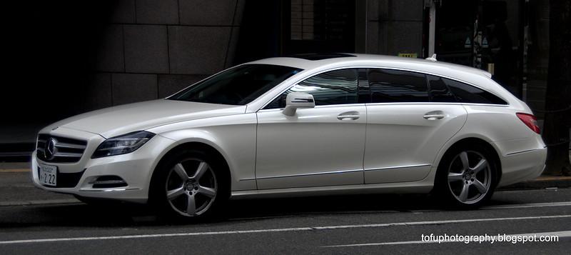 Fancy looking Mercedes hatchback in Osaka, Japan in March 2015