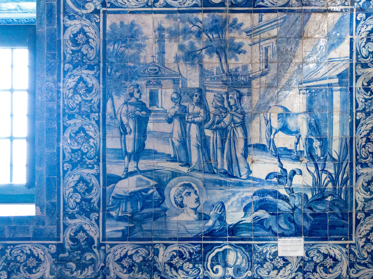 Closeup of an Azulejo Tile Showing What You Should Do If Tempted By Devilish Urges