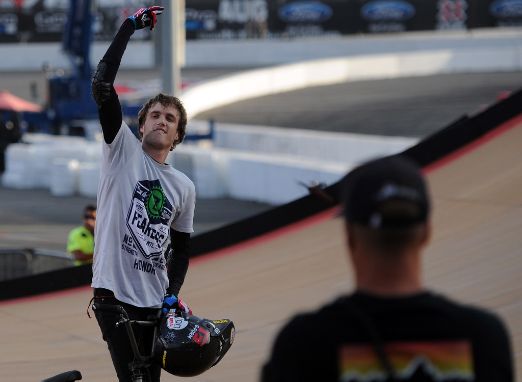 . Cotton Satterfield reacts to the crowd during the GoPro BMX Big Air Final at Irwindale Speedway on Friday, Aug. 2, 2013 in Irwindale, Calif. Morgan Wade won the gold medal.  (Keith Birmingham/Pasadena Star-News)