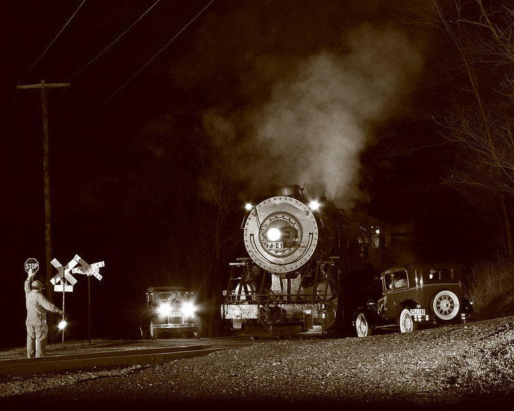 Night time traffic jam for WMSR #734. Western Maryland Scenic Railroad