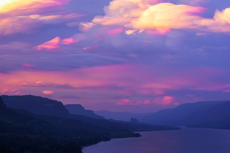 3 - This is roughly 30 minutes of exposures of the development of storm clouds as they passed over Beacon Rock at sunset in the summer of 2018.  I wanted to show how the storm created these painterly textures and the outcome looked more surreal than I could have imagined. In total this was comprised of 500+ photos.