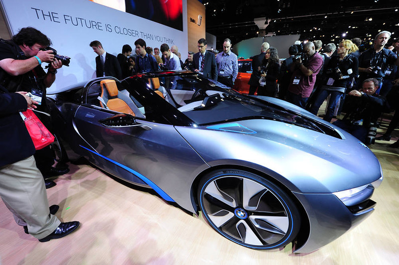 . The BMW i8 Concept sportscar is unveiled at the Los Angeles Auto show  in Los Angeles, California on media preview day, November 28, 2012.  \\The LA Auto Show will open to the public on November 30 and runs through December 9AFP PHOTO / Robyn  BECK/AFP/Getty Images
