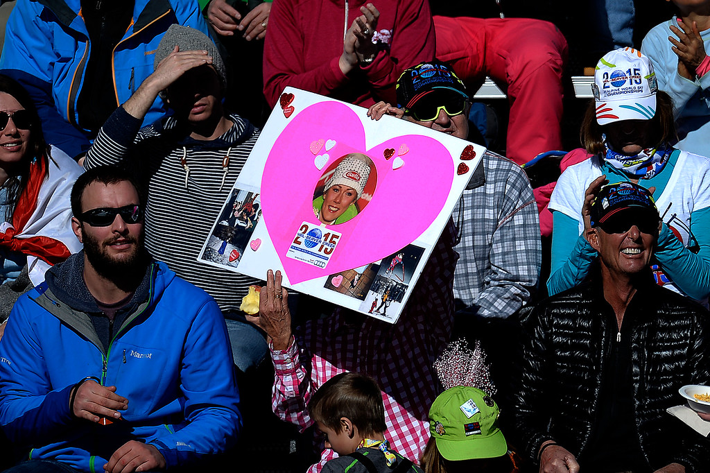. Fans of Mikaela Shiffrin cheer for her during the ladies\' slalom. FIS Alpine World Ski Championships 2015 on Saturday, February 14, 2015. (Photo by AAron Ontiveroz/The Denver Post)