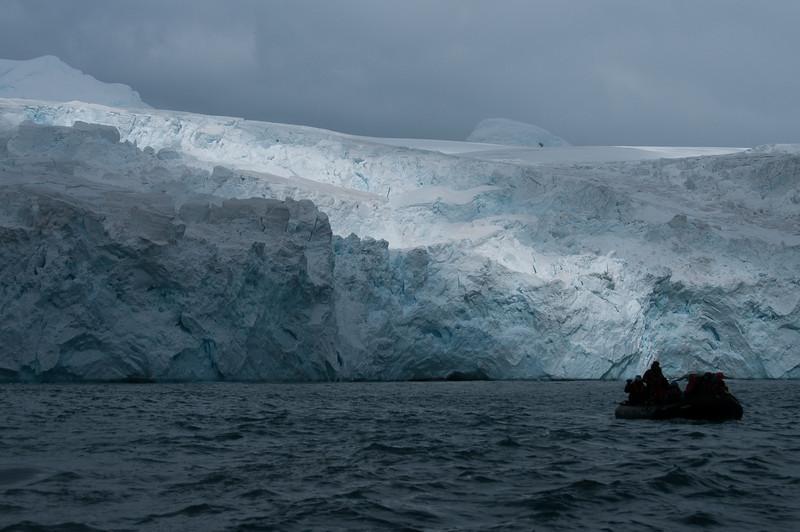 Zodiac near glacier, Elephant Island, Antarctica