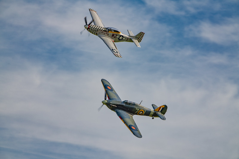 Shuttleworth, Old Warden-> Race Day 2018-> Display-> Nod To Reno, Aircraft-> Hawker-> Hurricane-> Sea Hurricane Mk1B-> Z7015, Aircraft-> North American-> TF-51D Mustang-> 414251 - Contrary Mary - 07/10/2018@14:49