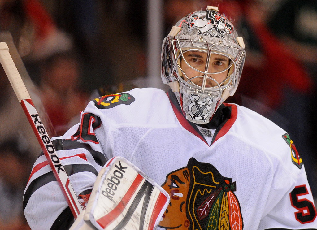 . Chicago goalie Corey Crawford stopped all 25 of Minnesota\'s shots in the Blackhawks\' 3-0 victory.  (Pioneer Press: John Autey)