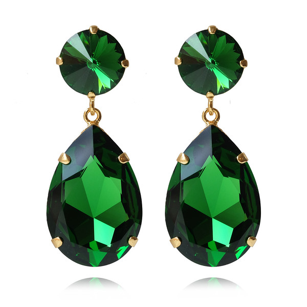 Perfect Drop Earrings / Dark Moss Green / Gold