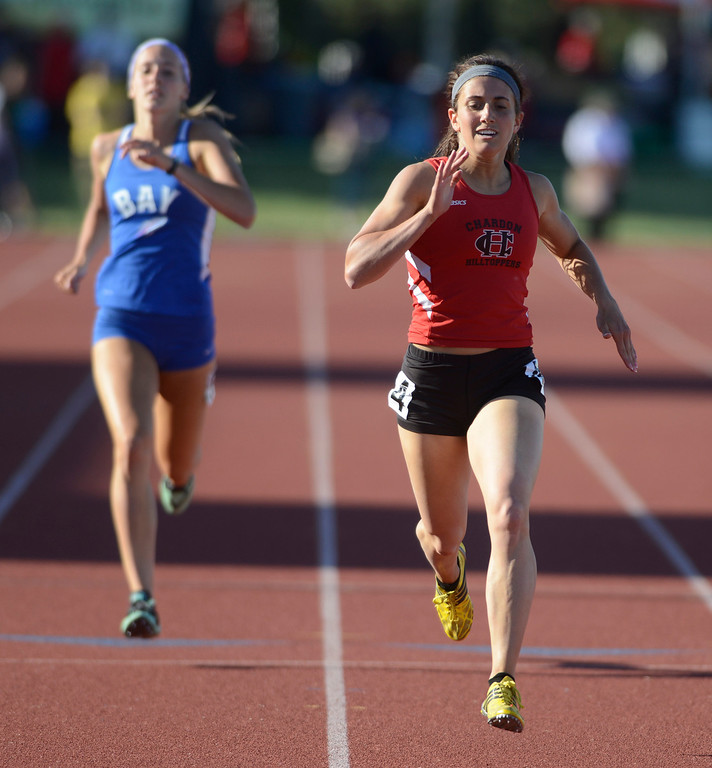 . Maribeth Joeright/MJoeright@News-Herald.com <p> Chardon\'s Stephanie Ferrante takes second place in the Division I girls 400 meter run to qualify for the finals during the state championship meet in Columbus,  June 6, 2014. Olivia Bechtel of Bay Village also qualified.