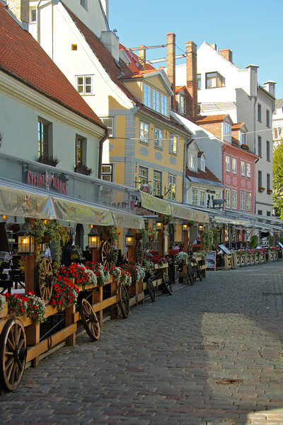Picturesque cobblestone street in Old Town -Riga, Latvia