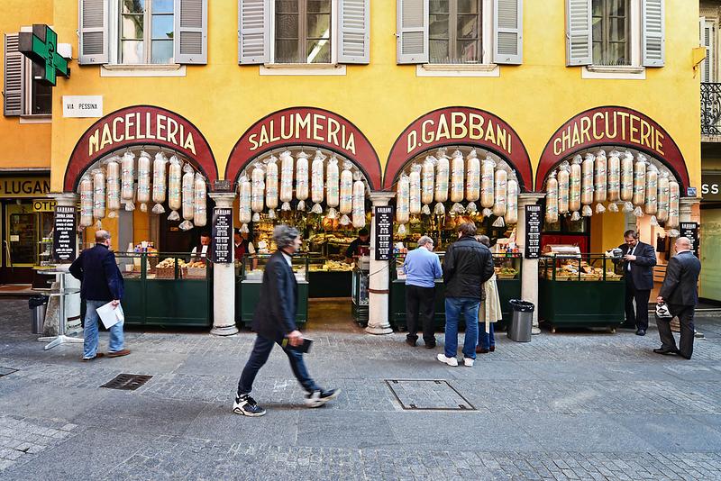 Local delicacies shop in Via Pessina, Lugano. Source: https://www.luganoregion.com/en