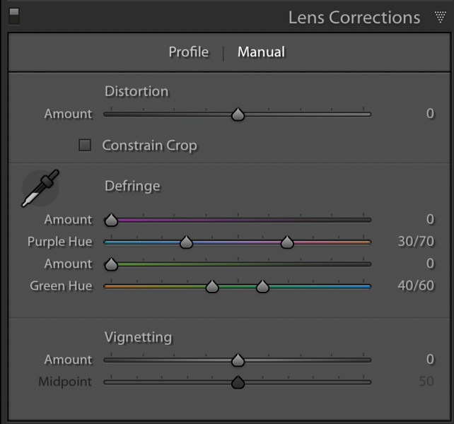 The Manual tab of the Lens Corrections Profile