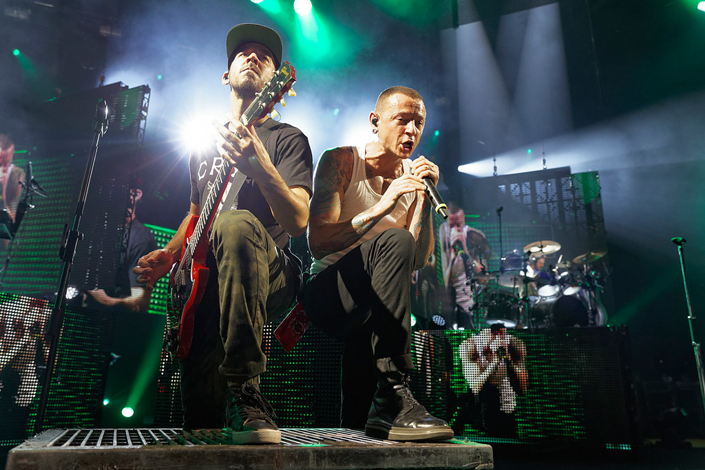 . Mike Shinoda and Chester Bennington of Linkin Park performs at DTE Music Theatre on Aug. 30, 2014. Photo by Ken Settle