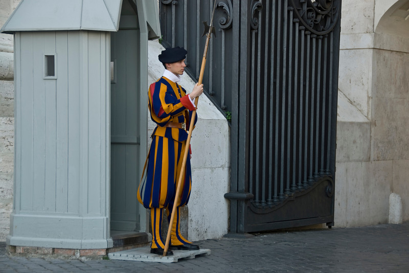 Swiss Guard at St Peter's Basilica in Vatican City