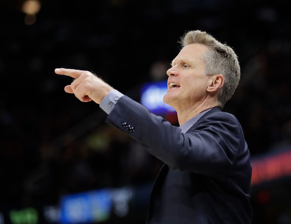 . Golden State Warriors coach Steve Kerr calls a play during the second half of Game 3 of the basketball team\'s NBA Finals against the Cleveland Cavaliers, Wednesday, June 6, 2018, in Cleveland. (AP Photo/Tony Dejak)