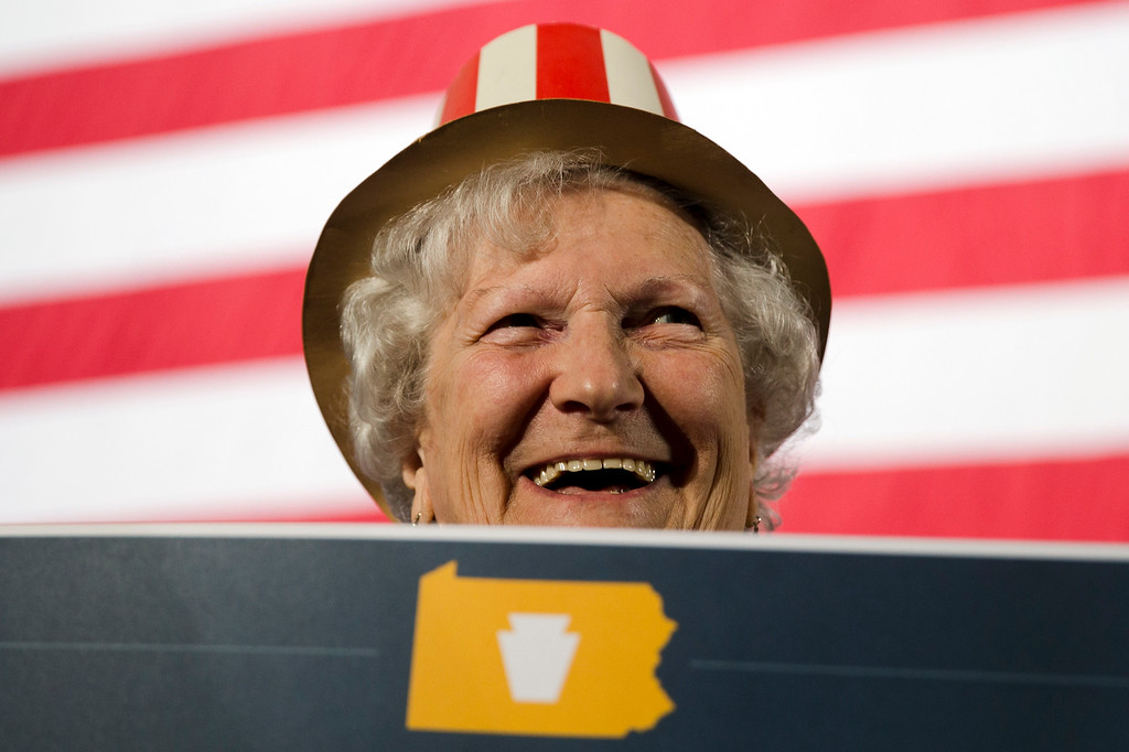 . Alice Bortner smiles as she waits for election results at an election day event for Pennsylvania Democratic gubernatorial candidate Tom Wolf on Tuesday, Nov. 4, 2014, in York, Pa. (AP Photo/Matt Rourke)