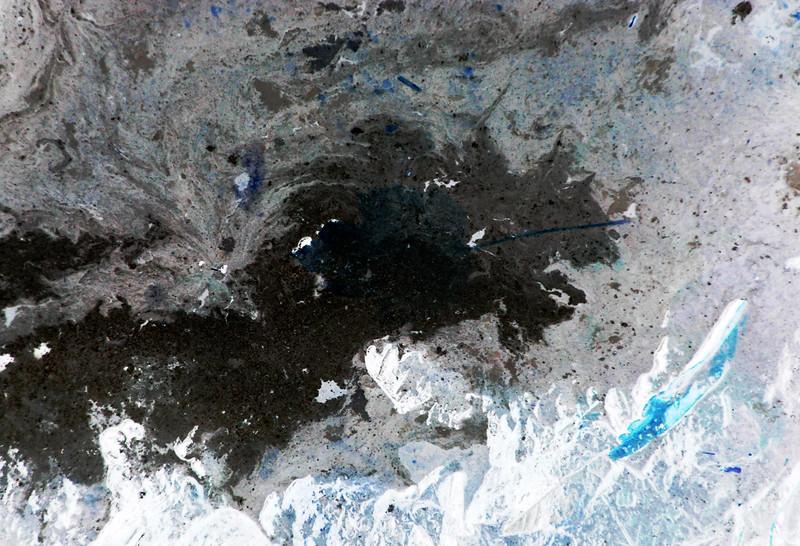 Dark lake and ice