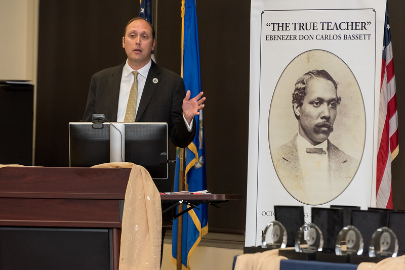 10/16/17  Wesley Bunnell   Staff  The 2017 Ebenezer D. Bassett Humanitarian Awards were held at CCSU on Monday evening honoring the CCSU alumnus, civil rights leader, diplomat, scholar and educator. Consul General Christopher Teal , a 2017 award winner, speaks to the audience.