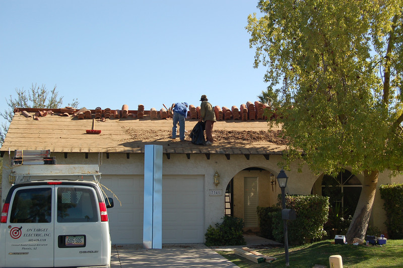 The new roof is being installed.