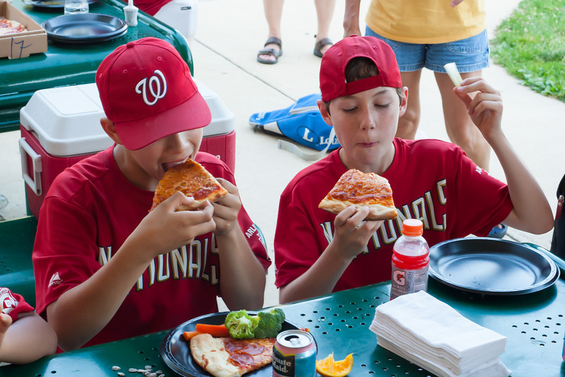 Celebrating Toby's birthday after an exciting 5-2 win over the Orioles. 2012 Arlington Little League Baseball, Majors Division. Nationals vs Orioles (09 Jun 2012) (Image taken by Patrick R. Kane on 09 Jun 2012 with Canon EOS-1D Mark III at ISO 1600, f8.0, 1/100 sec and 50mm)
