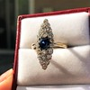 2.93ct Antique Diamond and Sapphire Navette Dinner Ring 18