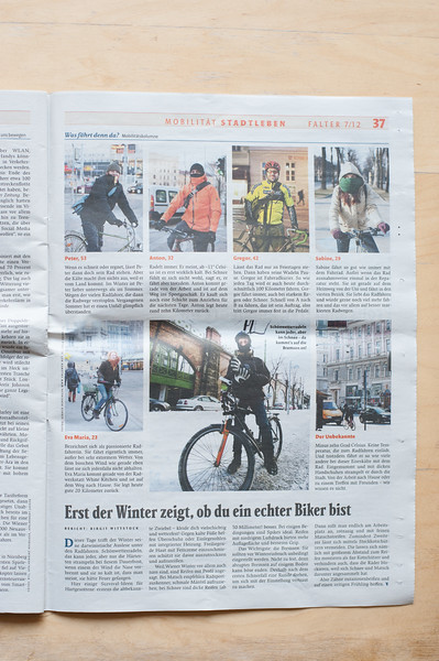 """2012-02: """"Der Falter"""" publishes cyclists in winter time in vienna."""
