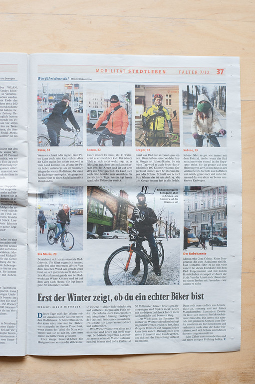 "2012-02: ""Der Falter"" publishes cyclists in winter time in vienna."