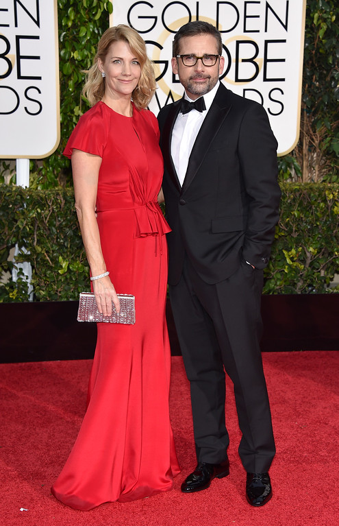 . Nancy Carell, left, and Steve Carell arrive at the 72nd annual Golden Globe Awards at the Beverly Hilton Hotel on Sunday, Jan. 11, 2015, in Beverly Hills, Calif. (Photo by John Shearer/Invision/AP)