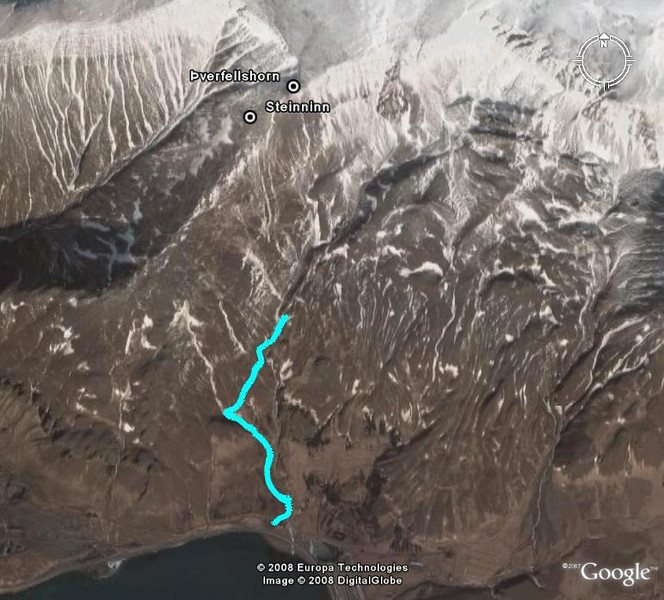 Leiðin séð í Google Earth