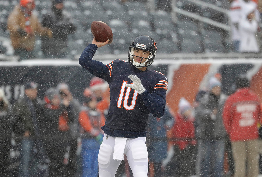 . Chicago Bears quarterback Mitchell Trubisky (10) throws during warmups before an NFL football game against the Cleveland Browns in Chicago, Sunday, Dec. 24, 2017. (AP Photo/Nam Y. Huh)