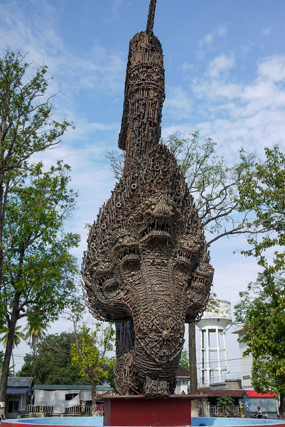 A Naga made from Khmer Rouge weapons in Battambang, Cambodia