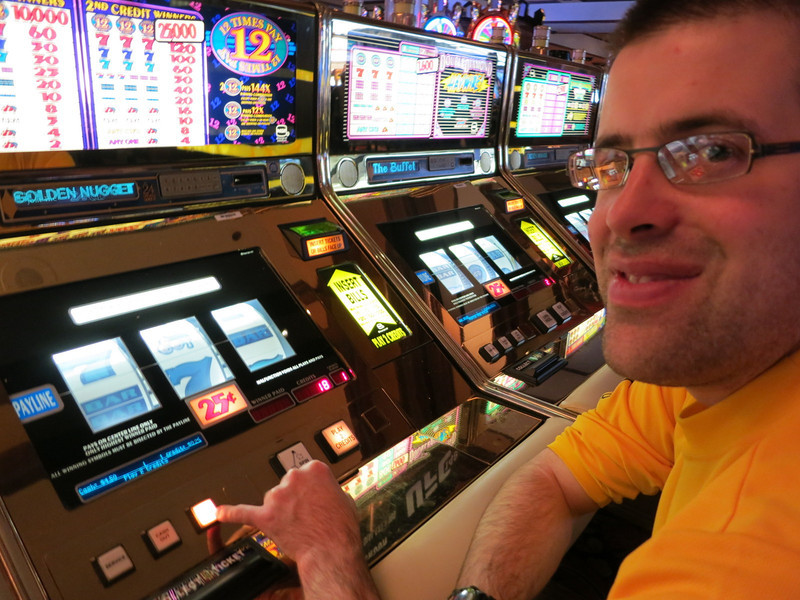 Playing 25 cent slots. High rollers.